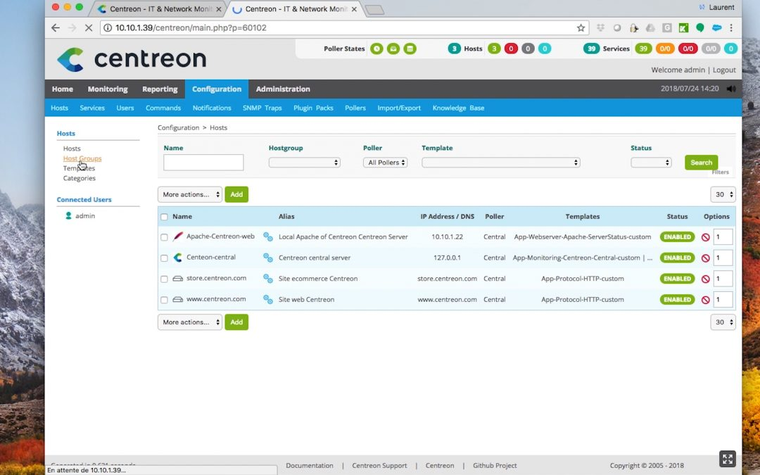 Comment utiliser l'interface Centreon API Web ?