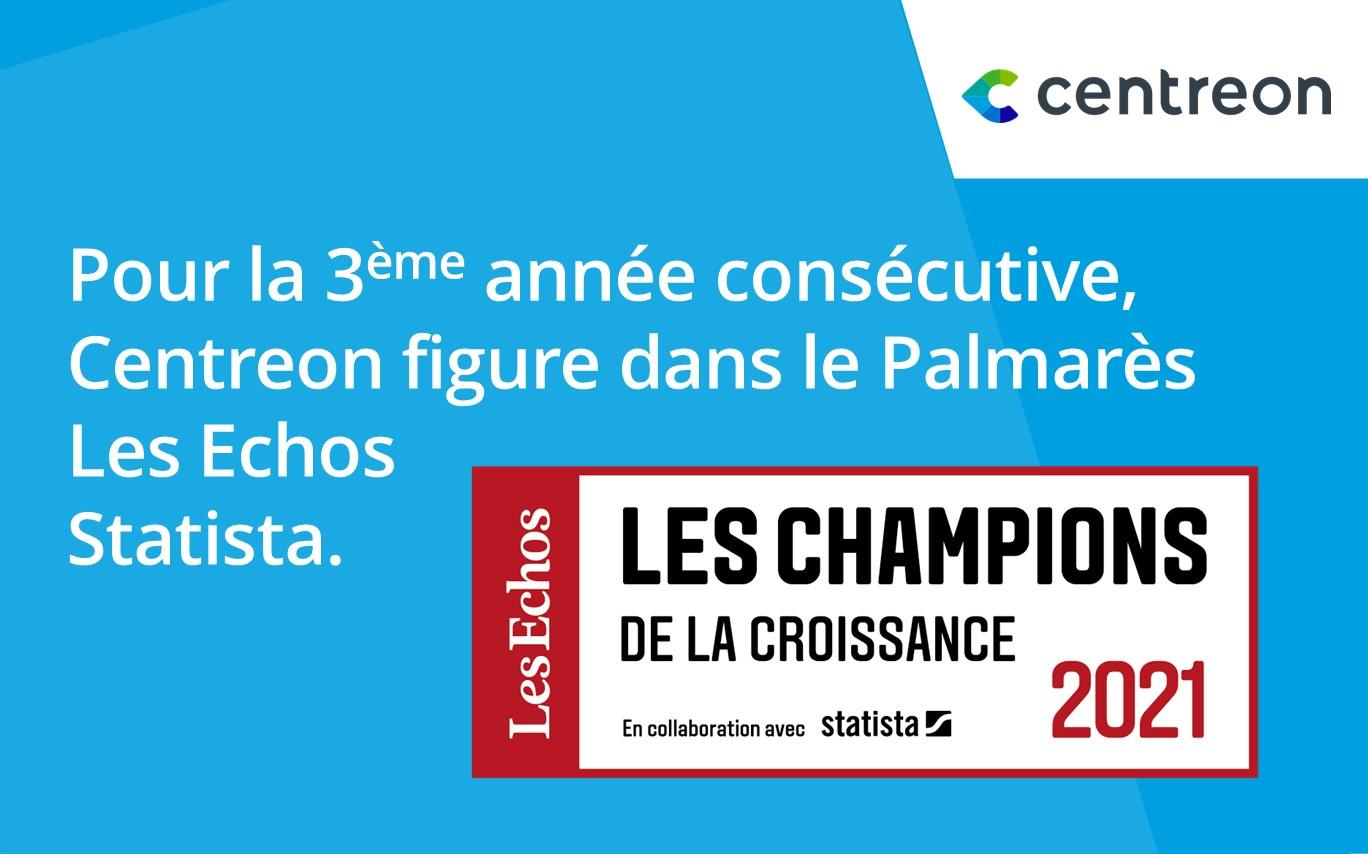 Centreon figure pour la 3ème année consécutive dans le Palmarès « Les Champions de la Croissance 2021 »